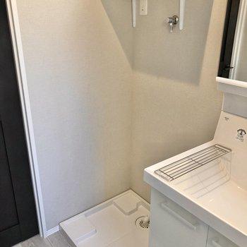 洗濯機置き場の上に洗剤などを置いておけますね。