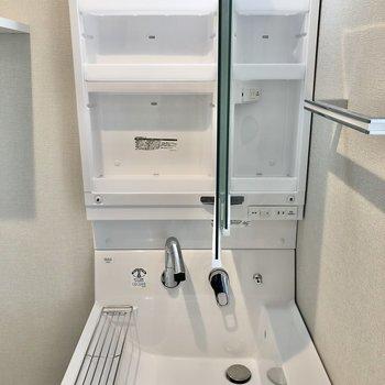 洗面台は鏡裏収納になっています。