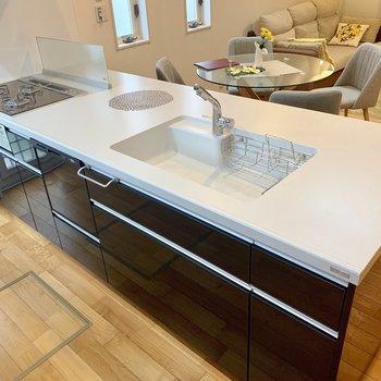 キッチンは大きな3口コンロタイプ。食洗機も付いています。