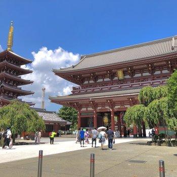浅草寺にも徒歩5分以内で到着です!