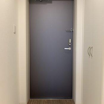 玄関とお部屋の境がフラットなので、マットを敷くのがよさそう。こまめにお掃除しましょう!