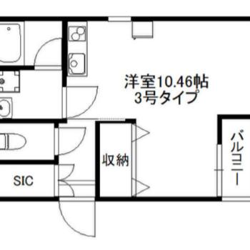 お部屋はL字型です。