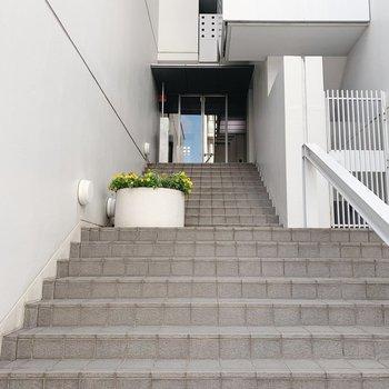 だけど、エントランスまでは階段です…!