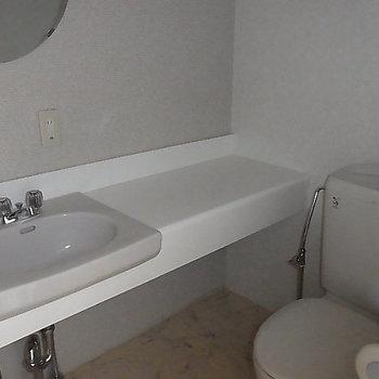 トイレ兼脱衣所兼洗面台あり。※写真は2階の反転間取り別部屋のものです