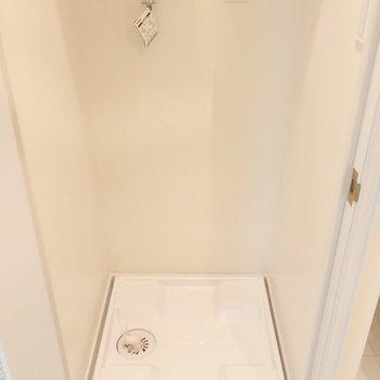 洗濯パンは扉付きで隠せます!(※写真は7階の反転間取り別部屋のものです)