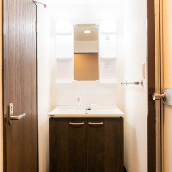 入って正面には洗面台。リノベーションで新品になっています!