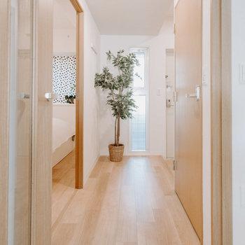 廊下にも窓があって明るい。※写真は同間取りの別部屋、家具は付属しません