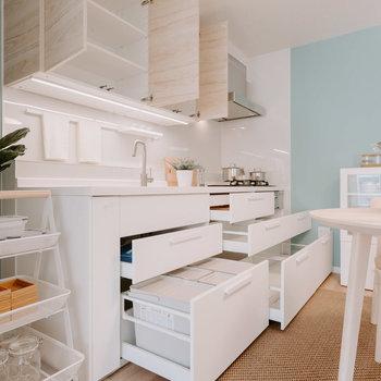 引き出しにはIKEAのごみ箱をしまえるようになっているそうです。使ってみたい。※写真は同間取りの別部屋、家具は付属しません