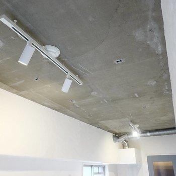 キッチン側の天井にはスポットライトが2つ。キッチンもダイニングも照らしてくれます。