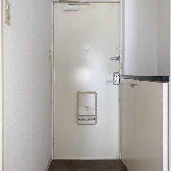 玄関はゆったりサイズ。2〜3足なら置けそうです。