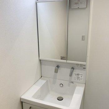温水も出るシャワーヘッドの洗面台。