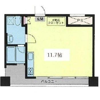 ゆとりのある1Rプランのお部屋です。