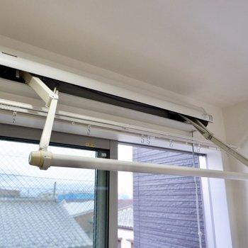 室内物干しで雨天時のお洗濯もラクラク。普段は畳んでおけるんです。