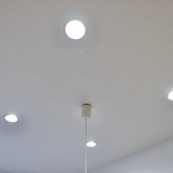 ダウンライトの柔らかな灯りが空間を照らします。