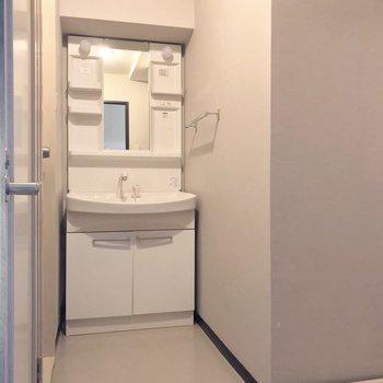 脱衣所はリビングとサービスルームの間に。シャンプードレッサーが便利です。