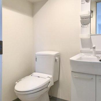 その横にはトイレ。余白があるので後ろの掃除もしやすそう…!