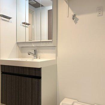 洗面台と洗濯パンはお隣。