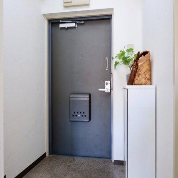 チャコールグレーのドアがクールな玄関。タタキ部分が広めなのも嬉しいポイント。