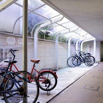 駐輪場(空き要確認)。屋根があるので雨の日も濡らさずに保管できますよ。
