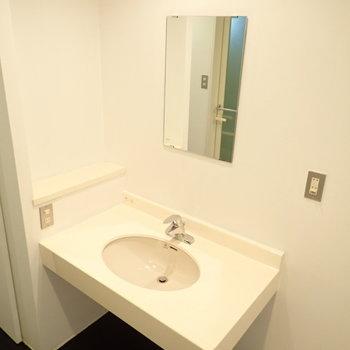 洗面台の下に収納を置けますね。(※写真は4階の同間取り別部屋のものです)