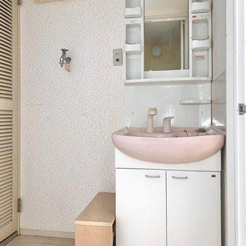 洗面台と洗濯機置き場は隣り合っています。※写真はフラッシュを使用しています