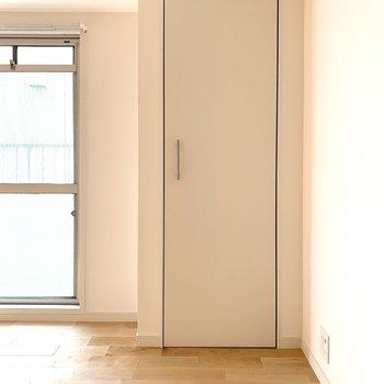 こちらは給湯機隠しのための扉ですので収納ではありません