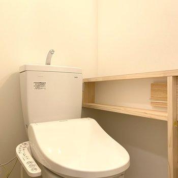 洗面台と兼用なのでトイレの横にはちょっとした棚がついてます