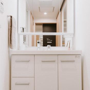 そしてランドリーコーナーの奥に洗面所。大きな鏡が嬉しいですね。