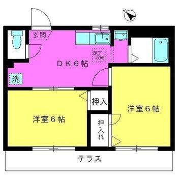"""""""あるとうれしいもう一部屋""""がある2DKの間取り。"""