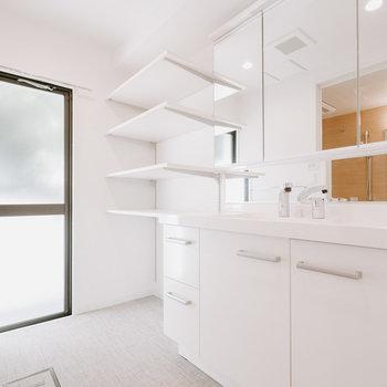 このお部屋は、とても大きな洗面台が特徴!2人並んで立つことができます。