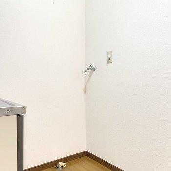 キッチンの後ろ側には洗濯機と冷蔵庫を置けます。