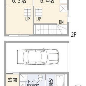 1階が水回り、2階が生活スペースになっています。