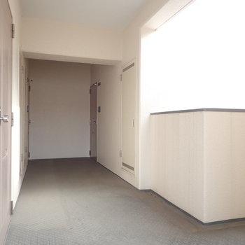共用部】廊下は広さがあって歩きやすかったです。