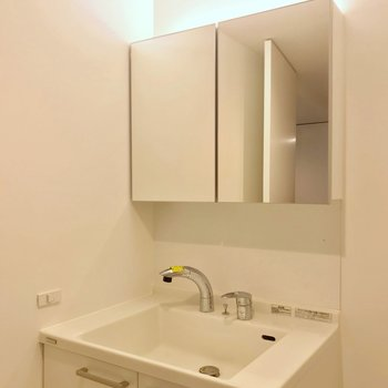 大きな鏡付きの洗面台。スタイリッシュな佇まい。