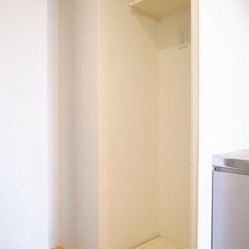 キッチンの左手には目隠しつきの洗濯機置き場が。その他の水回りは…(※写真は5階の同間取り別部屋のものです)