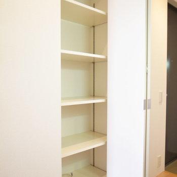 キッチンの背後に棚があるんですが、こちらを靴箱にしてもいいかも。(※写真は5階の同間取り別部屋のものです)