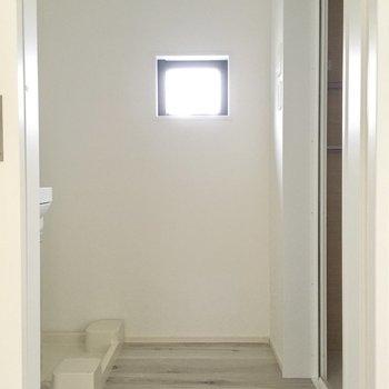 大きな扉の先はサニタリースペース。(※写真は別棟1階同間取り別部屋のものです)