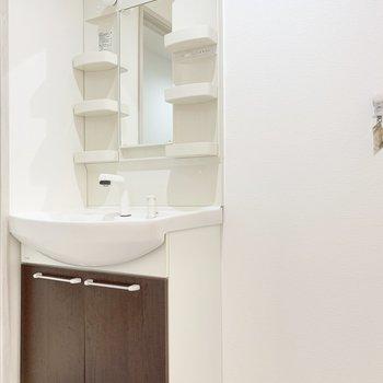独立洗面台は丁度いいサイズ感。隣に洗濯機置き場。