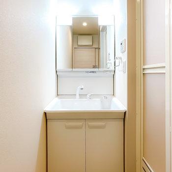 正面には洗面台。三面鏡でミラーが大きく、朝や寝る前のスキンケアが捗りそう!