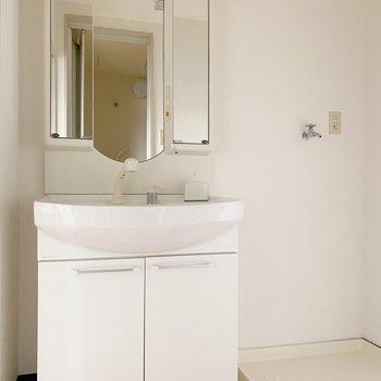 中には独立洗面台と洗濯置き場のコンピ◯服を脱いでそのままお風呂に入れるのって結構嬉しい。