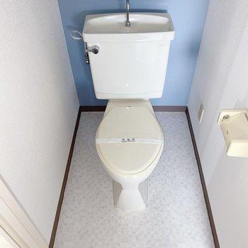左側のドアにはトイレ。青いクロスがキュート。