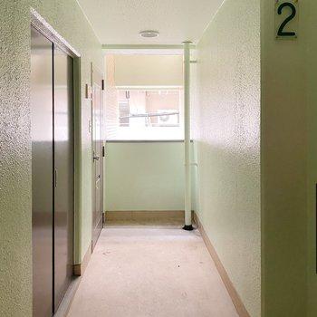 グリーンの壁がなんだかかわいい共用部。