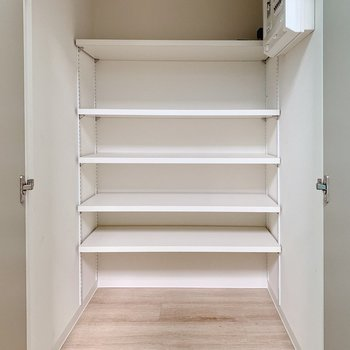 階段の途中にある扉の奥は可動棚。シューズボックスとしても活用できそうです◎