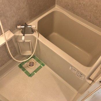 浴室です。鏡やシャンプーなどが置ける棚もありますよ。