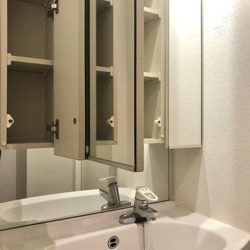 幅のある洗面台にはコンセントや歯ブラシなどが置ける収納もありますよ。