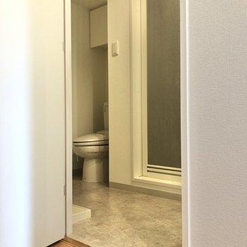 キッチンの反対側に扉の向こうは洗面台・浴室・トイレ・洗濯機置き場になっています。
