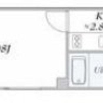 シンプルな1Kタイプのお部屋。
