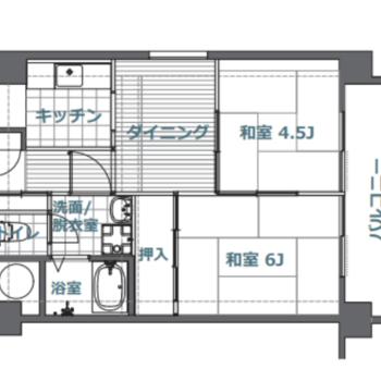 和室2部屋の2DK。