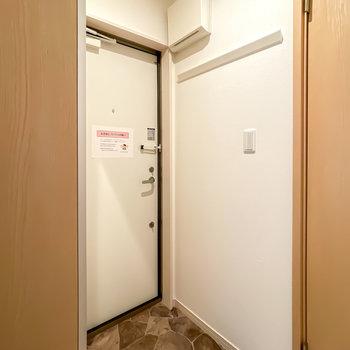 ダウンライトで明るい玄関にはコートなどを掛けられるピクチャーレールが。