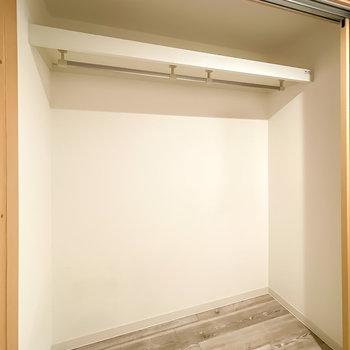 扉の中はクローゼット。幅2mほどあるので、オフシーズンの服もまとめて収納できそう。